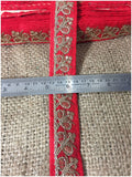 lace trim fabric lace applique trim wedding dress dance costumes and dresses Material-Red-Embroidery-Sequins-2-Inch-Wide-3281