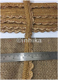 9 Meter (Yard) Roll of Lace Gold Friinge Waves Stone - Inhika.com