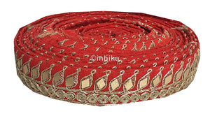 lace trim fabric beaded bridal braid trim by the yard Red, Embroidery, Mirror, 2 Inch Wide material Cotton Mix