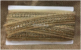 lace trim fabric fancy saree border lace for sale Beige-Embroidered-Stone-2-Inch-Wide-