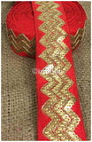 lace trim fabric embroidered lace fabric for wedding dresses india online Red, Embroidery, Sequins, 3 Inch Wide material Cotton Mix, Dupion
