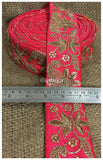 lace trim fabric designer jacquard fabric ribbon trim Pink, Embroidery, Sequins, 3 Inch Wide material Cotton Mix