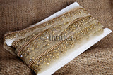 Gold Floral Applique Beaded Apparel Trim |Net Mesh Fabric | 1.6 inch wide | 9 Metre Roll - Inhika.com