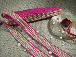 9mtr border lace trim, velvet rani pink base, 5 row gold embroidery n sequins - Inhika.com