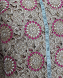 fabric purchase online india dress material online Embroidered, Stone Dupion Beige, Pink, Gold 43 inches Wide 1646