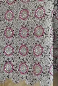 embroidery online india dress material online Embroidered, Stone Dupion Beige, Pink, Gold 43 inches Wide 1646
