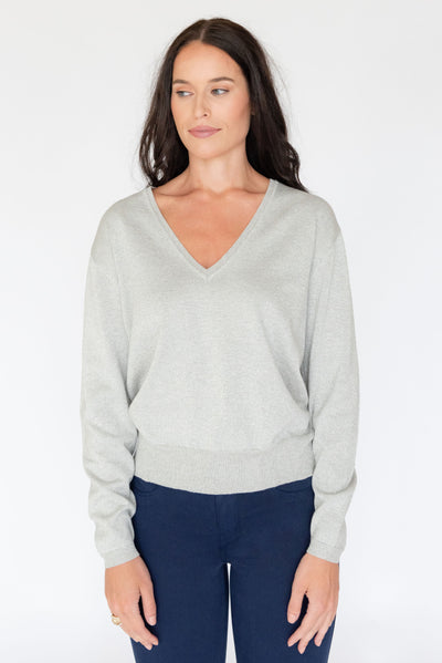 Cosmic V Neck Sweater Silver