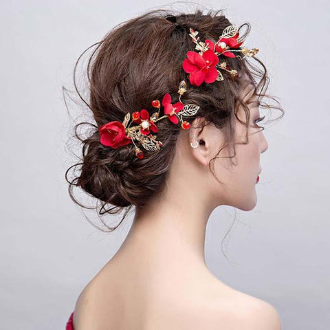 Vintage Red Hand-Made Rose Wedding Headpiece, Charming Wedding Headpiece, VB0593
