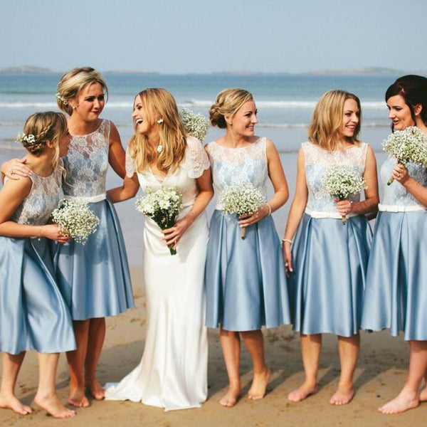 Popular Junior Short Pretty Blue Satin White Lace Bridesmaid Dresses for Beach Wedding, TYP0172