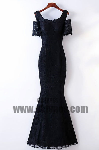 Black Long Mermaid Lace Prom Dresses, Off-shoulder Zipper Prom Dresses, Prom Dresses, TYP0472
