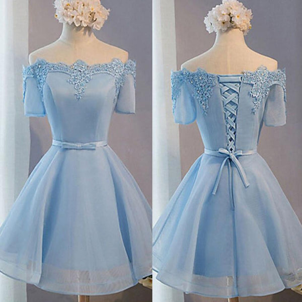 Light Blue off shoulder with short sleeve lace lovely homecoming prom dresses, TYP0089
