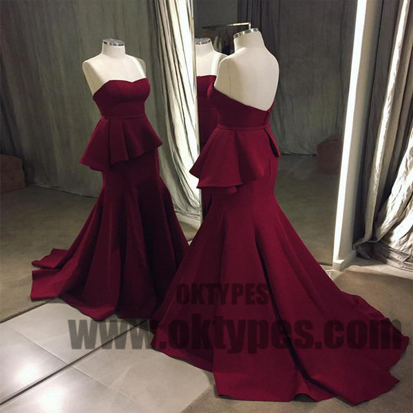 Claret Long Mermaid Prom Dresses, Sweetheart Prom Dresses, Zipper Prom Dresses, Ruffles Prom Dresses, TYP0232