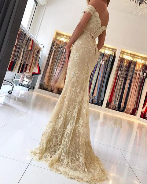 Light Yellow Long Prom Dresses, Lace Mermaid Prom Dresses, Off-shoulder Prom Dresses, Zipper Prom Dresses, Charming Prom Dresses, TYP0187