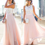 Online Junior Unique Long Prom Dress Formal Blush Pink Chiffon Cheap Bridesmaid Dresses, TYP0154
