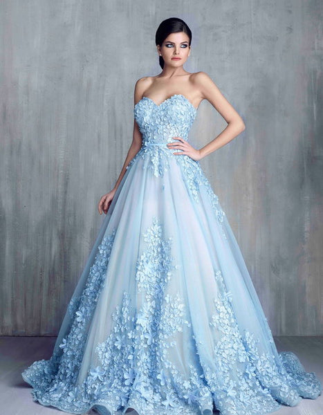 Light Blue Long Ball Gown Wedding Dresses, Sweetheart Wedding Dresses, Appliques And Embroidery Wedding Dresses, Lace Up Wedding Dresses, TYP0066