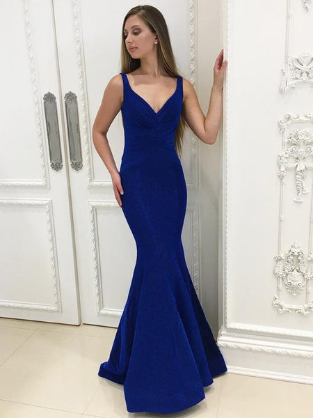 Royal Blue Long Mermaid Prom Dresses, Spaghetti Strap Prom Dresses, Backless Prom Dresses, Sexy Evening Dresses, TYP0279