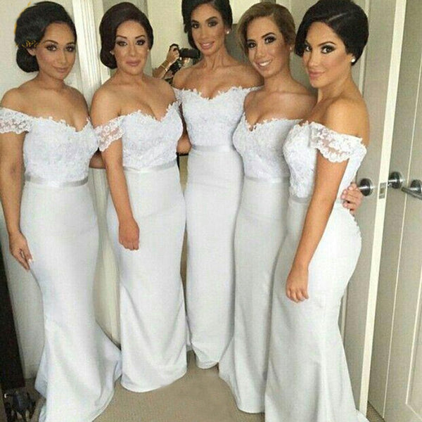 Off Shoulder Sweet Heart Sexy Mermaid Long Pretty Cheap Wedding Guest Bridesmaid Dresses, TYP0143