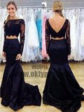 Navy Blue Two Piece Prom Dress, Long Sleeve Lace Prom Dresses, Mermaid Crop Top Prom Dress, TYP0050