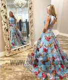 Two Piece Prom Dresses, Round Neck Sweep Train Blue Floral Organza Prom Dresses, TYP0698