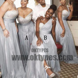 Mismatched Rhinestone Shinny Top Light Grey Long A-line Side Slit Bridesmaid Dresses, TYP0646