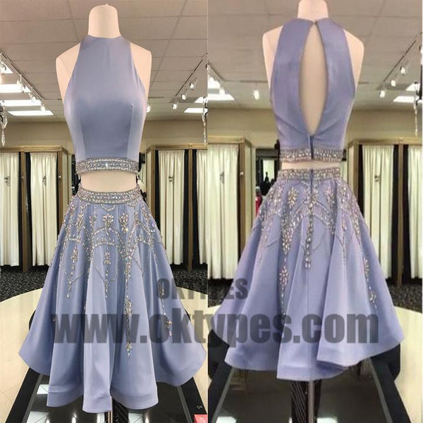 Open Back Grey Beaded Two Pieces Homecoming Dresses 2018, Homecoming Dresses, TYP0606