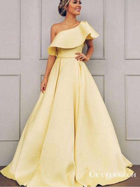 A-Line One Shoulder Sleeveless Yellow Long Prom Dresses With Ruffles, TYP1653