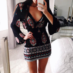 Print Long Trumpet Sleeves V-neck Loose Short Dress