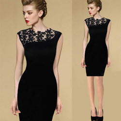 Floral Crochet Stretch Bodycon Knee-length Black Dress - Shoes-Party - 1