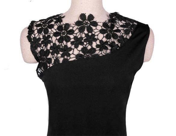 Floral Crochet Stretch Bodycon Knee-length Black Dress - Shoes-Party - 4