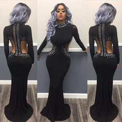 Sequins Cut Out High Neck Long Mermaid Party Dress