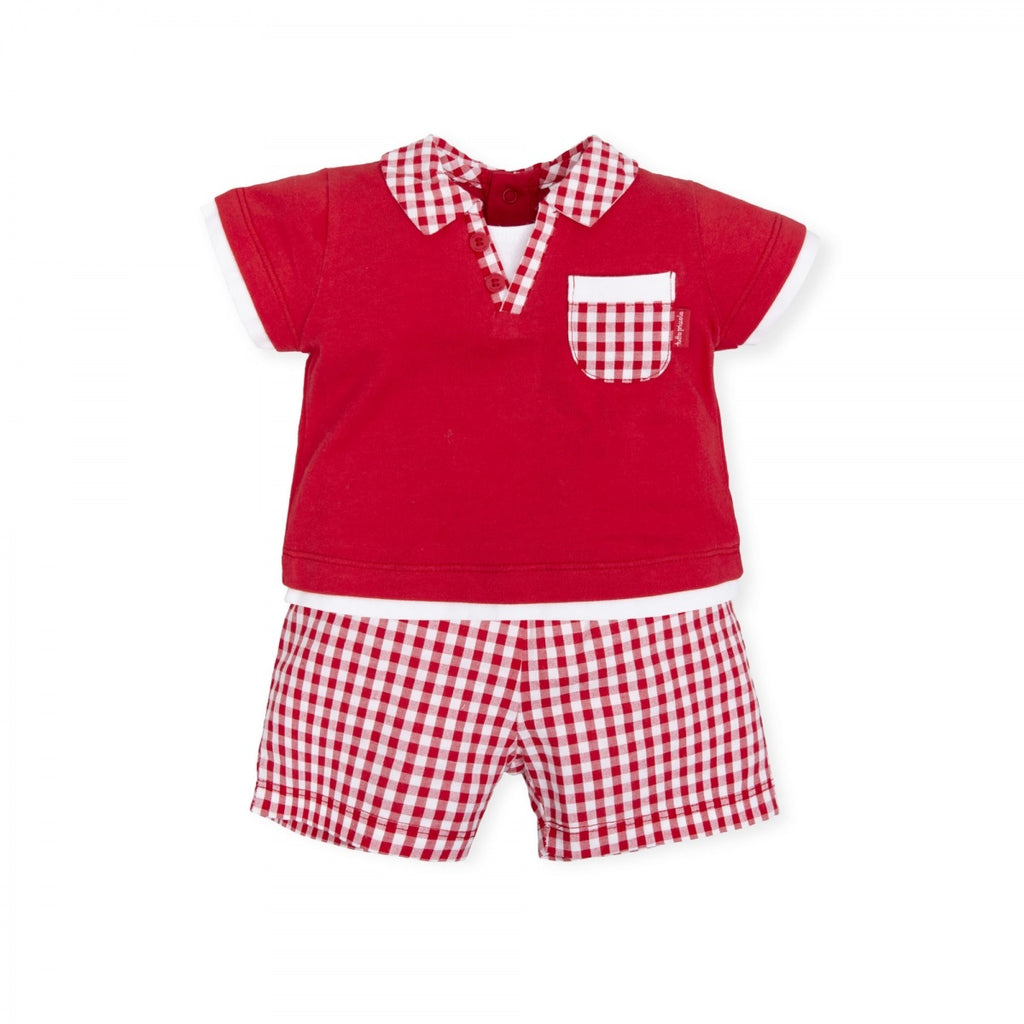 Tutto Piccolo Red Checked Short Set