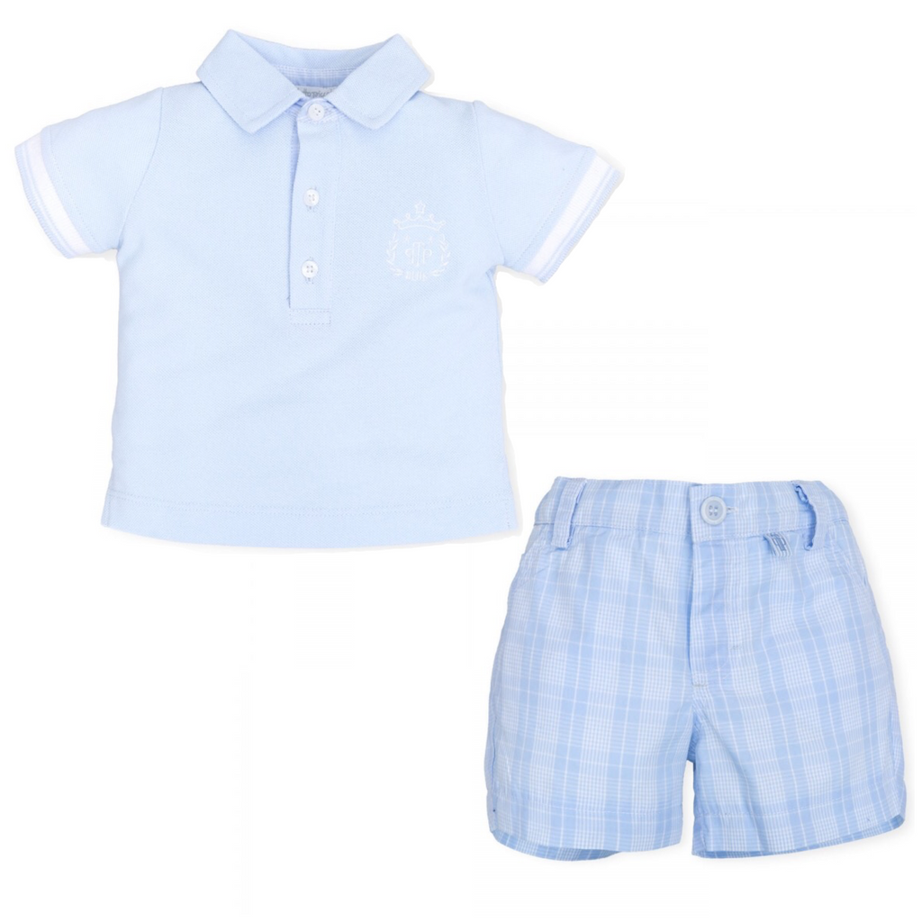 Tutto Piccolo Blue Polo and Checked Short Set
