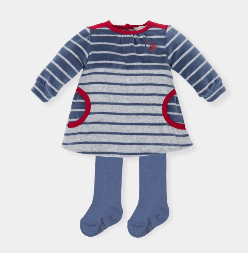 Tutto Piccolo Striped Velour Dress and Tights