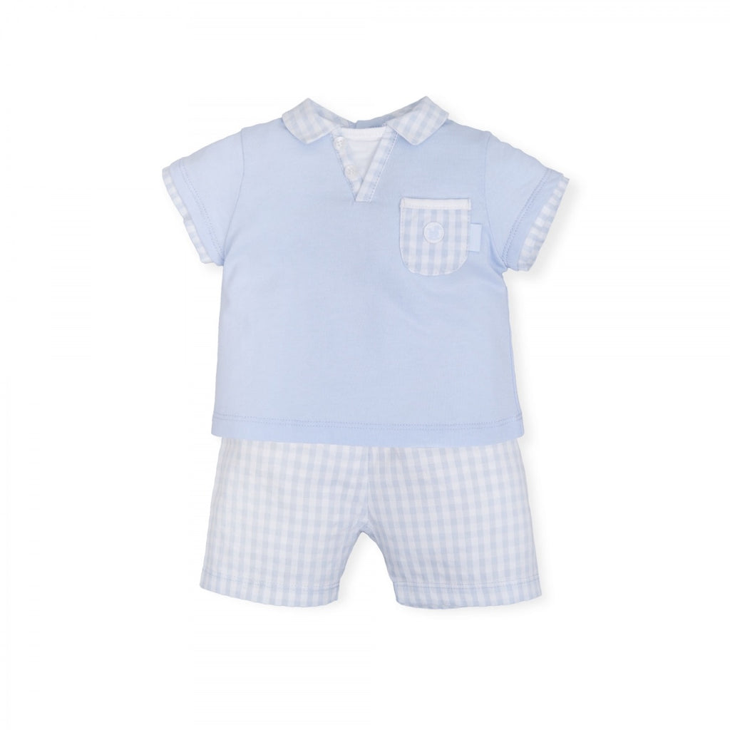 Tutto Piccolo Blue Checked Short Set