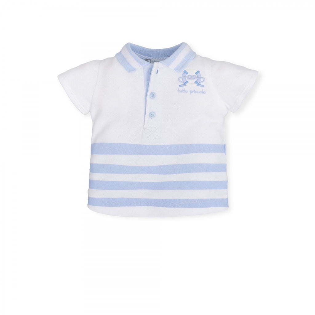 Tutto Piccolo White/Blue Striped Polo