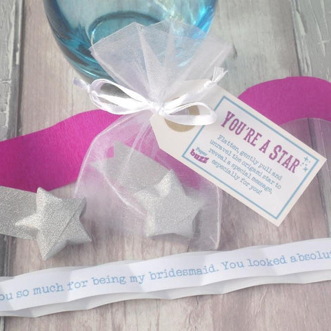 'Thank you for being my Bridesmaid' Personalised Origami Star