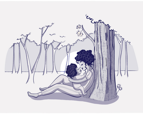 illustration of mother holding baby against a tree