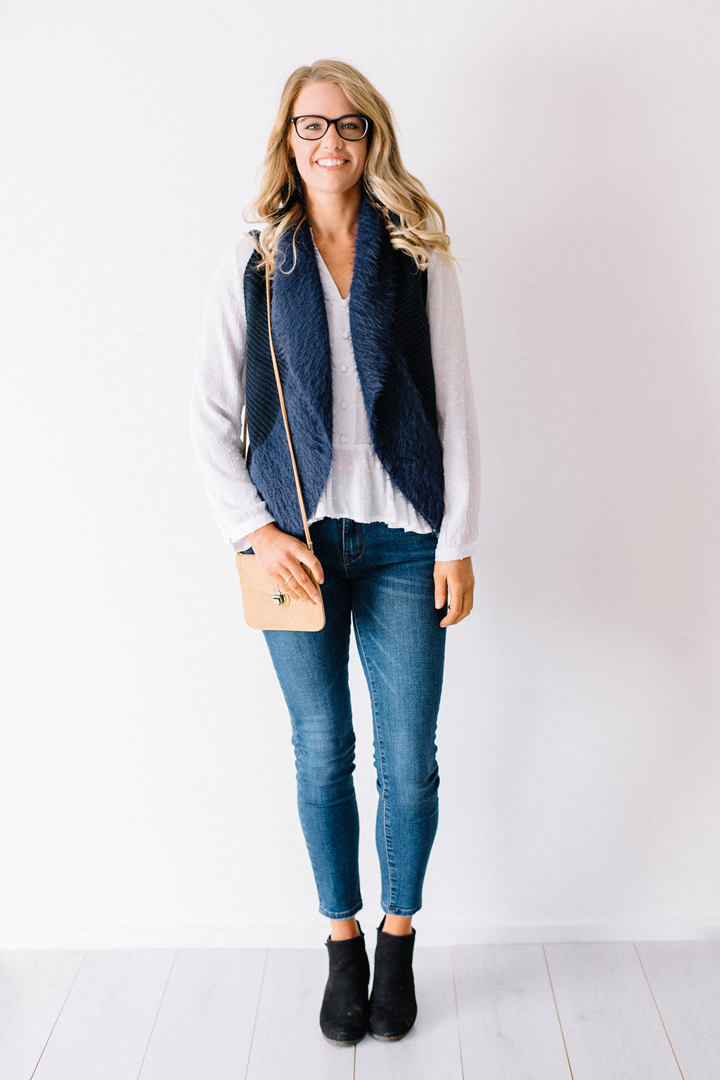 Faux Fur Knit Vest Navy