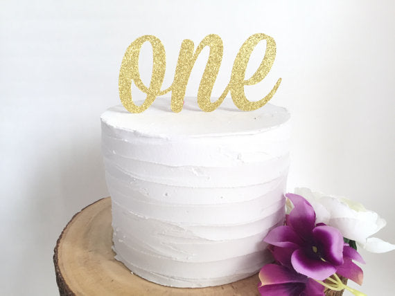 Glitter One Cake Topper - Gold