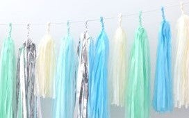 Tissue Paper Tassel Garland - Beige, Blue, Mint and Silver