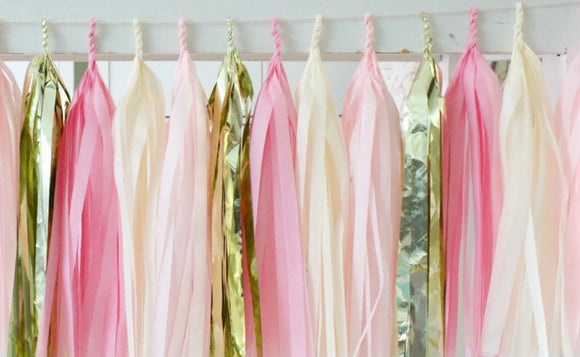 Tissue Paper Tassel Garland - Light Pink, Dark Pink, White and Gold