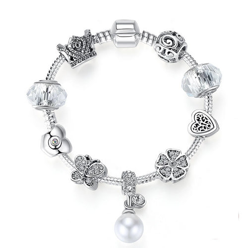 Silver with Dangling Pearl Beaded Bracelet with Heart, Clover and Butterfly