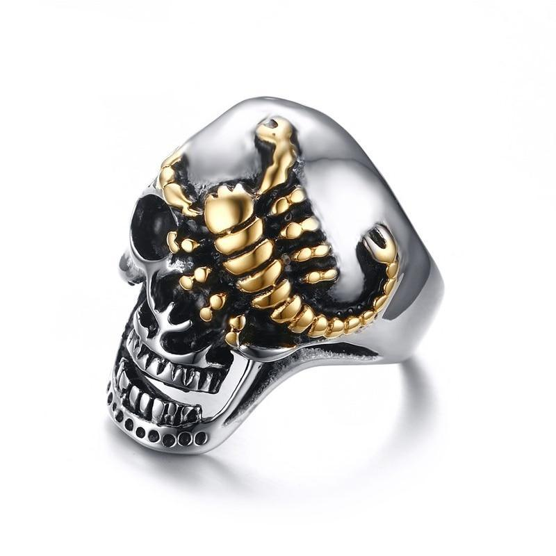 Half-Crush Skull with Gold Plated Crawling Scorpion Biker Ring - Innovato Store