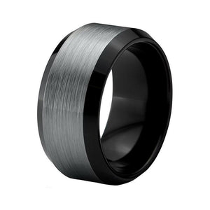 10mm Grey Brushed Matte Black Tungsten Carbide Wedding Ring - Innovato Store
