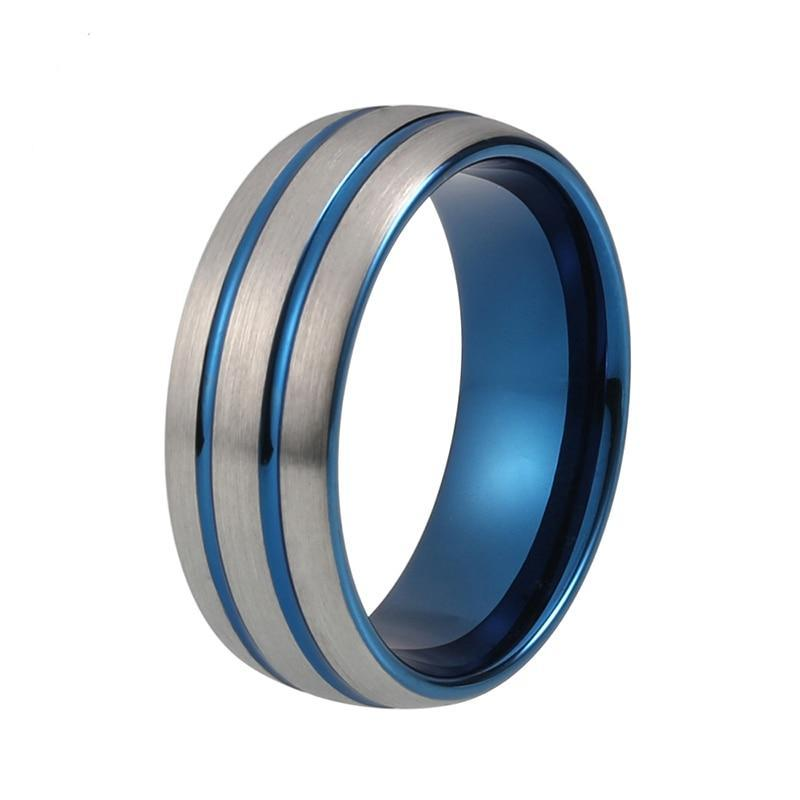 8mm Unisex Tungsten Silver-Plated Brushed Top with Grooves Wedding Ring - Innovato Store