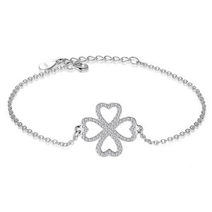 925 Sterling Silver Clover Heart with Cubic Zirconia Bracelet