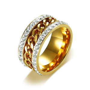 Gold Plated Ring with Stainless Steel Sheet Embedded with Triple-A Cubic Zirconia Stones - Innovato Store