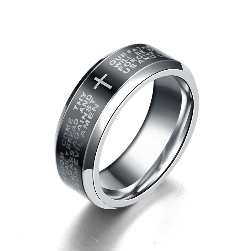 8mm Lord's Prayer and Cross Silver Plated Spinner Ring for Men and Women - Innovato Store