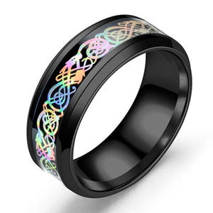 Stainless Steel Rainbow Colors Ingrain Dragon Pattern Inlay Men's Wedding Ring