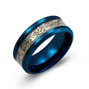 Luminous Dragon Inlay Black and Blue Stainless Steel Ring - Innovato Store